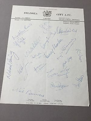 SWANSEA CITY A.F.C. 1921  signed letter from the 1970's Football autographs