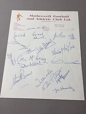 MOTHERWELL FOOTBALL CLUB  signed letter from the 1970's Football autographs