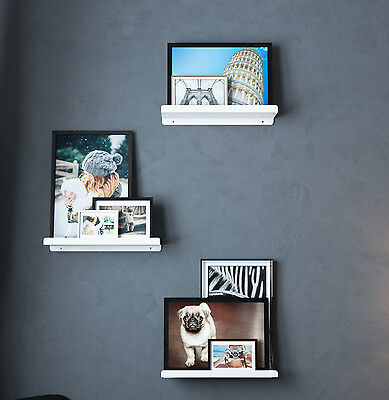 Metal Floating Book Shelves Display Wall Mount Bookcase 17 Inch Set of 3 White