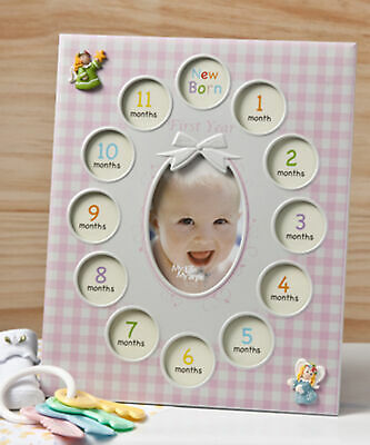 Fashioncraft Pink Plaid Baby Girl's First Year Collage Frame  Picture Frame