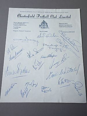 CHESTERFIELD FC  signed letter from the 70's Football autographs