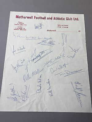 MOTHERWELL FC  signed letter from the 1970's Football autographs
