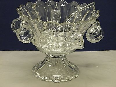 Heisey Crystal Punch Set W/ Ladle & 9 Cups