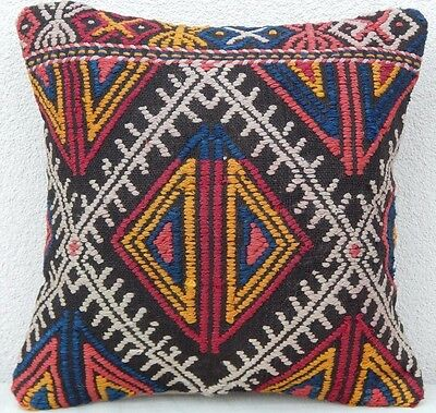 16 x 16'' Vintage Woven Antique Kilim Pillow Cover, Interesting Pattern Cushion