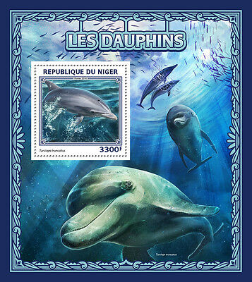 Niger 2016 MNH Dolphins 1v S/S Common Bottlenose Dolphin Marine Animals Stamps