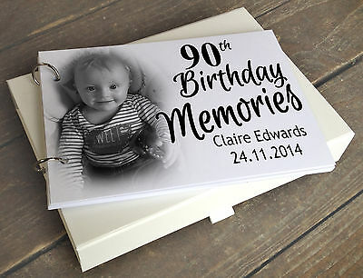 Personalised A5 scrapbook photo album with optional gift box, 90th birthday gift