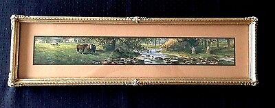 Antique Framed Picture with 3 Horses In a Pasture by a Stream