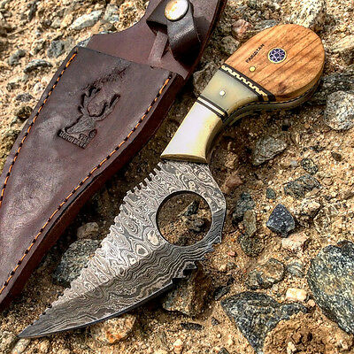"NEW Hand Made 7"" Damascus Steel Wood & Deer Bone Handle SKINNER Hunting Knife"