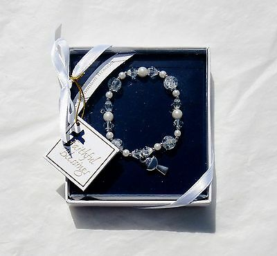 Nib Girls First Communion Pearl & Crystal Beaded Silver Chalice Charm Bracelet