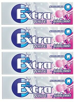 Wrigleys Extra White Bubblemint Chewing Gum pack of 4