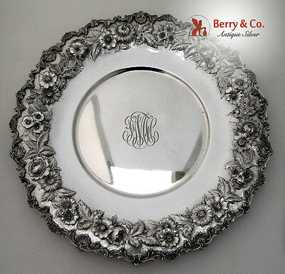 Repousse Sandwich Plate Scalloped Edge S Kirk Inc 1925 Sterling Silver