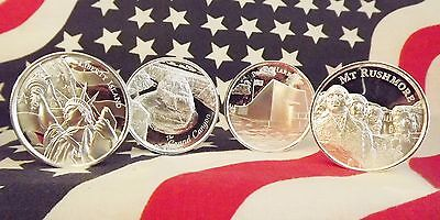 American Landmarks Series: Four (4) Piece Set ea 2oz .999 Pure Silver / capsules