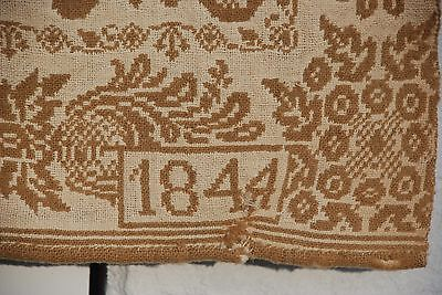 Antique dated 1844 Jacquard Woven Gold Cream Color Coverlet Breadspread 2 Panels