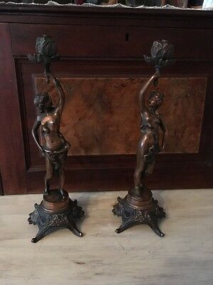 Antique Spelter Lady Statues Matching Pair Cast Iron Bases Stunning