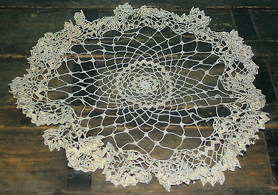"""Vintage Crochet Lacey Doily White with Gold thread, Ruffled edge 20"""""""