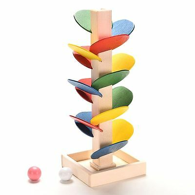 Multi-color Building Blocks Tree Marble Ball Run Track Wooden Toys Educational