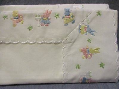 """White Cotton Pink Yellow Blue Bunny Rabbits Baby Pillow Sham New 16"""" x 12 Easter"""