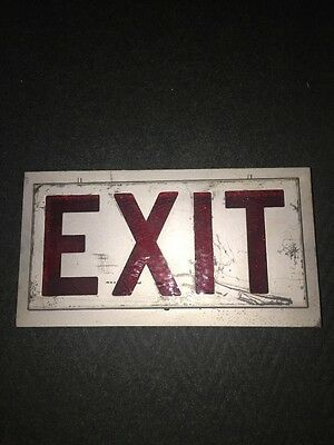 VINTAGE EXIT SIGN BOX STYLE RED STAINED GLASS DUEL Porcelain Light Fixtures