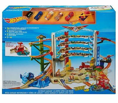 Hot Wheels Ultimate Garage Playset With 5 Cars Helicopter Car Wash 9 Play Zones
