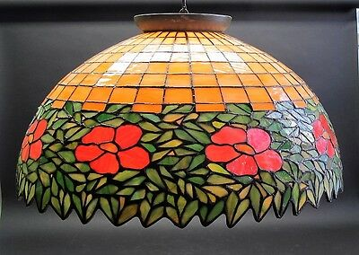 """Massive 27"""" HANDEL or UNIQUE Stained Glass Ceiling Lamp  c. 1915  leaded antique"""