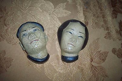 Vintage Very Old & Rare Pair Of Ceramic  Japanese-Oriental Faces