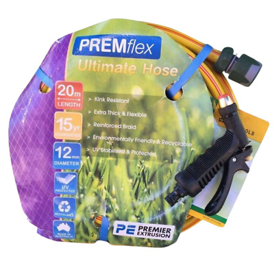 "Garden 12MM - 1/2"" Water Premflex Hose 20M Fittings Pistol 8.5/10 Kink-Free"