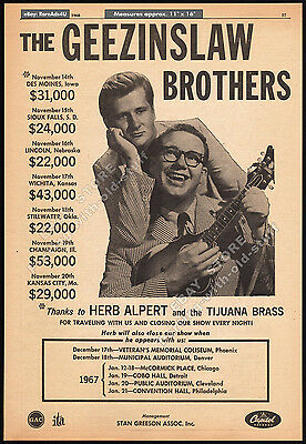 THE GEEZINSLAW BROTHERS__Original 1966 Trade Print AD promo / poster_Musical duo