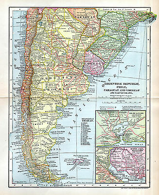 Argentina Map Argentine Republic Chile South America Map 1902 Dodd Mead