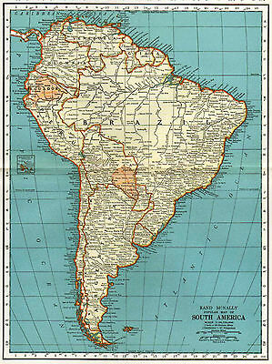 South America Map, Vintage 1935, Rand McNally, Wall Decor, Large Size