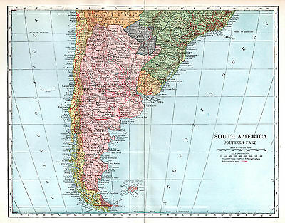South America Southern Part Antique Map, L L Poates, Wall Decor Argentina Chile