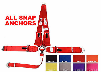 """All Snap / Clip Racing Harness Sfi 16.1 5 Point V Roll Bar Mount 3"""" Cam Lock Red"""