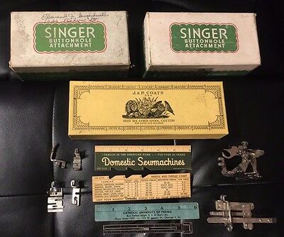 HUGE LOT: J&P COATS BOX/ Misc Machine Parts SINGER SIMANCO PELOUZE Sewing Items!