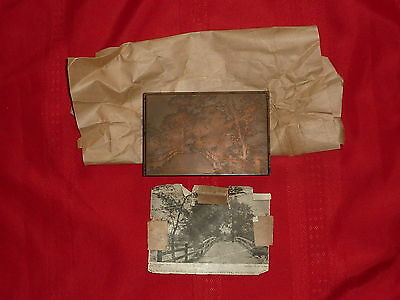 Letterpress Printer Wood Block Copper E. Perry #1370 Old North Bridge Mass 1898