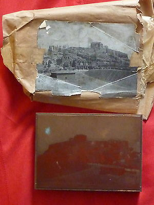 Letterpress Printer Wood Block Copper E. Perry #1612 Acropolis Athens 1926