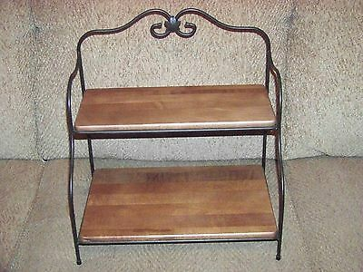 LONGABERGER Foundry Wrought Iron Small Baker's Rack with 2 RB WoodCraft Shelves