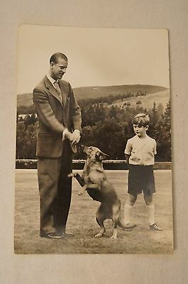 HRH.The Duke of Edinburgh and Prince Charles-Balmoral Scotland-Vintage-Postcard.