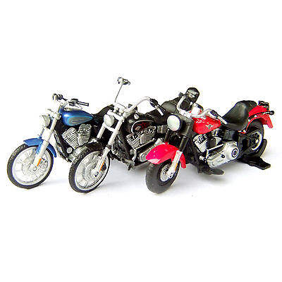 3pcs 1:43 Scale Motorcycle Bike Figure Model Movable Wheels Red Blue Black Toy