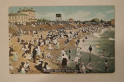 Melbourne - Brighton Beach on Boxing Day -Vic - Collectable - Vintage -Postcard.