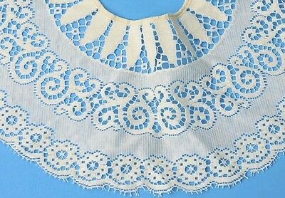 """Vintage Collar Ivory 8"""" Wide Cotton 6 Pearl Buttons for Closure"""