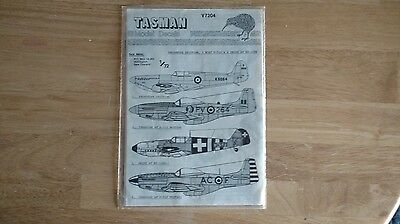 1/72 Tasman Decals for Multiple Aircraft, Spitfire, Bf 109, P-51