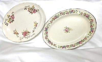 """2 Vintage Edwin Knowles 11.5"""" Platters- Pattern KN07(1934) & Blossom Time (1949)"""