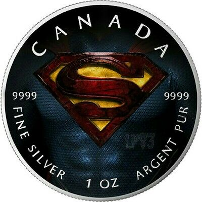 2016 SUPERMAN 1 Oz SILVER COLORED MINTAGE 100 PCS WITH BOX & COA v7.