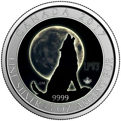 2017 WOLF MOON 3/4 Oz SILVER COLOR MINTAGE 100 PCS WITH BOX & COA..