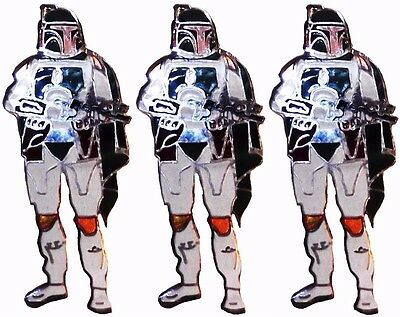 Star Wars Series Boba Fett Standing Figure Metal Enamel Costume Pin Set of 3
