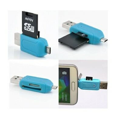 Micro USB OTG Adapter USB 2.0 SD T-Flash Memory Card Reader For Cellphone PC AU