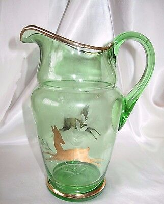 Vintage Green Glass Water Jug With Gold Deer Decoration