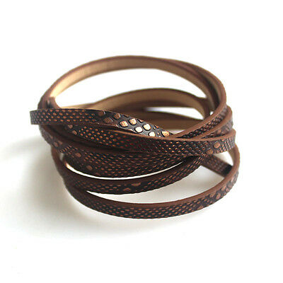 New 5*2mm Flat Brown Spots Imitated PU Leather Cord String For Bracelet Making