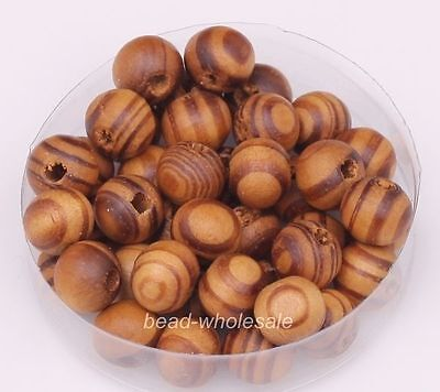 200pcs Wholesale Brown/Red Color Round Wooden Loose Spacer Beads 8mm