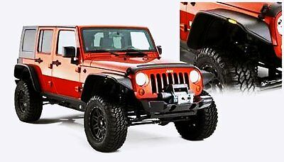 Jeep Wrangler Jk 07-17 Flat Style Fender Flares / Guard Wheel Arch Black