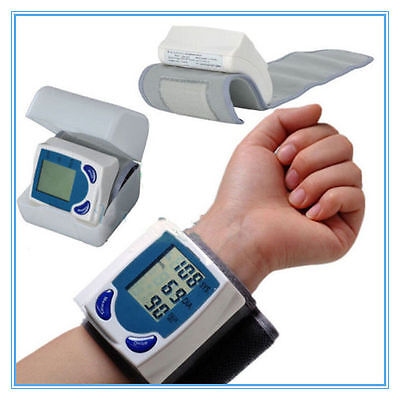 Digital LCD Wrist Blood Pressure Monitor&Heart Beat Rate Pulse Meter Measure@D